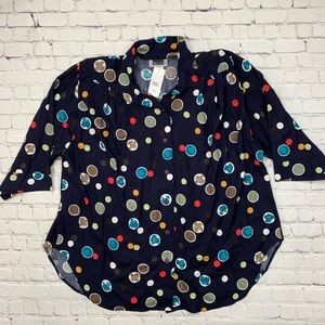Maggie Barnes Polka Dot Button Down Top NWT